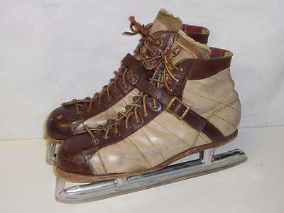 Vintage Mens Goodyear Hockey Ice Skates Arco Steel Shank Made in USA! Size 10