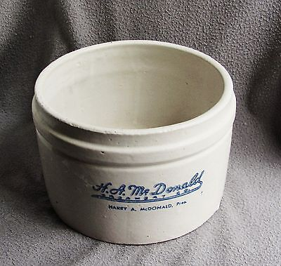Advertising Stoneware Cottage Cheese Crock H A McDonald Creamery Detroit 1930s