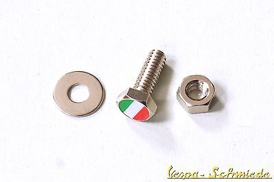 Screw Number plate - Italy-flag - Vespa Lambretta Car number plate Italy