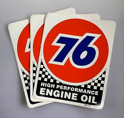 Union 76 Unocal Gasoline High Performance Oil Lot of 3 Stickers NASCAR Racing