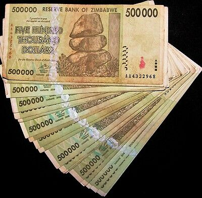15 x Zimbabwe 500000 dollar banknotes paper money currency