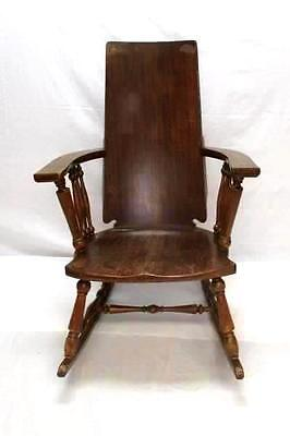"Vintage Wooden Low Sitting Rocking Chair Solid Straight Back 39.5"" Porch"
