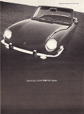 """1968 Fiat 850 Spider Convertible photo """"Match This Price"""" promo print ad"""