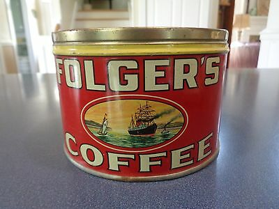 Vintage Folger's Coffee Tin ~ Key Wind ~ No Lid ~ Great Condition