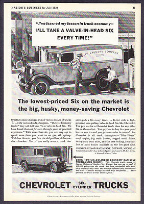 1934 Chevrolet Panel Delivery Truck at Gas Station photo vintage promo print ad