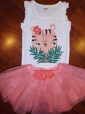 SZ 2 T Gymboree 2pc TIGER Top Coral TUTU Skirt Outfit New Toddler Girl NWT