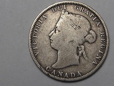 1874-H Silver Canadian 25 Cent Coin.  #20