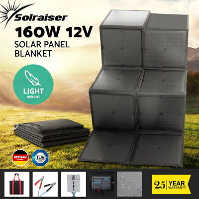 Mono 200W 12V Folding Solar Panel Caravan Boat Camping Power Charging Battery