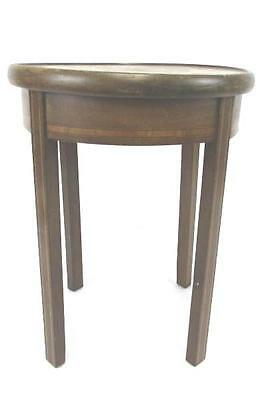 Antique Intricate Inlaid Wood Round End Table Hall Accent - Early American