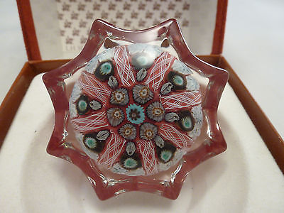 Strathern Scotland Star Millefiori Art Glass Paperweight Vintage with BOX  2.5""