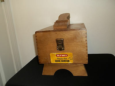 Vintage Kiwi Genuine Oak Shoe Server Box With 2 Brushes And 3 Buffers