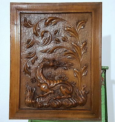 Carved Wood Panel Antique French Walnut Griffin Dragon Fire Salvaged Carving