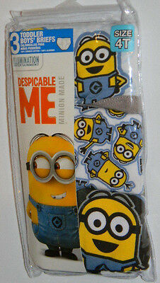 New Minions Despicable Me Made Blue Gray Toddler Boys Briefs Underwear Sz 4T