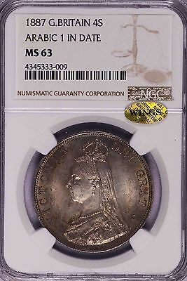 Ngc-Ms63 1887 Great Britain 4Shillings Silver Great Toning Wings