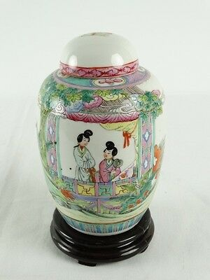 Old Chinese Famille Rose Polychrome Ginger Jar Pot on wood Stand China