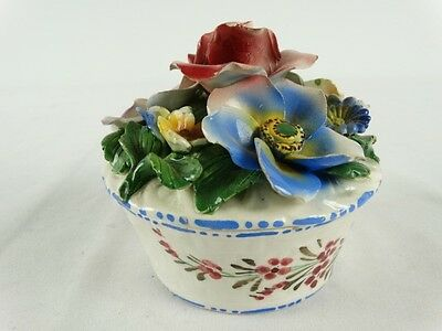 Vintage Italian Fiance Hand painted Capodimonte Flower topped Ceramic Pot Italy