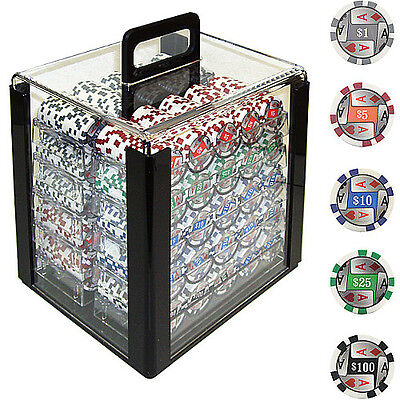 Trademark Poker 1000 4 Aces W/ Denominations Poker Chips In Acrylic Carrier