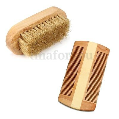 Beard Brush & Comb Kit Horse Hair Mustache Shaving Brush Beard Comb