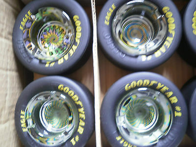 """Set of 4 Goodyear Tire Ashtrays Assorted Designs  Rubber Tires 3.5"""" x 1.5"""" New"""
