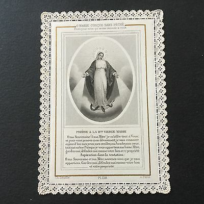 CANIVET Letaille Marie 128 Daté 1877 HOLY CARD 19thC Santino