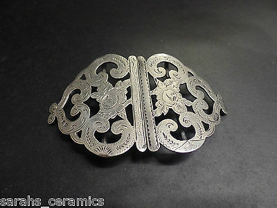 Beautiful Antique Solid Silver Nurses Belt Buckle Birmingham 1906-7 s&c