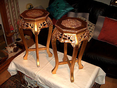 Vintage Chinese Marble Top Gold Wooden Pair Plant Stand/lamp Tables