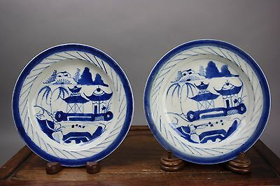 19th C. Pair Chinese Blue and White Enameled Plates