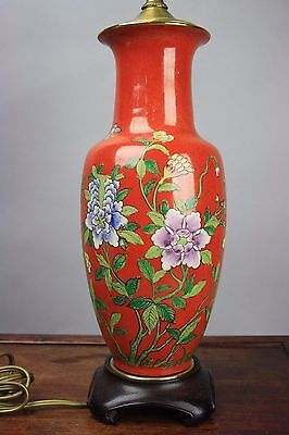 Chinese Iron-Red Famille-Rose Floral Vase Lamp