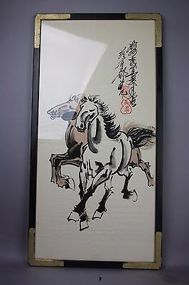 20th C. Chinese Original Framed Paper Hand Painting: Horses