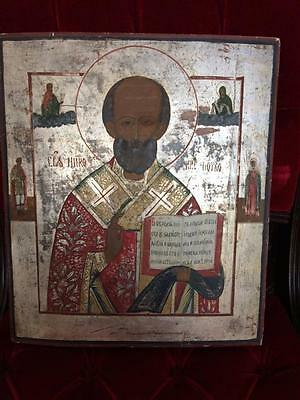 Antique Russian Icon Saint Nicholas Silvered Wood c 1800 Black Sea Origins