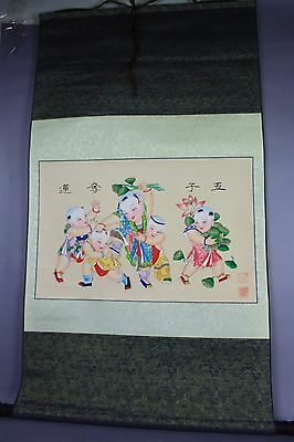20th CHINESE SIGNED SCROLL HAND PAINTING: FIVE KIDS AND LOTUS