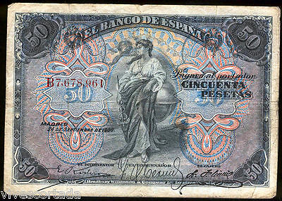 Spain 50 pesetas 24 September 1906 @ Beautiful @