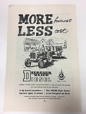 RARE 1955 FORDSON Major Diesel A5 Vintage B&W Tractor / Agricultural Advert L1