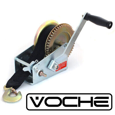VOCHE® 2000LB MANUAL BOAT MARINE TRAILER HAND WINCH + 8m WEBBING STRAP + HOOK