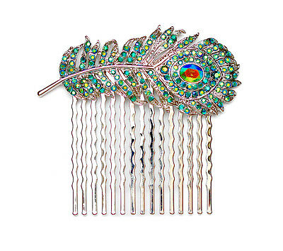 Hair Comb Peacock Feather Emerald Color Green AB Bridesmaid Wedding Party Prom