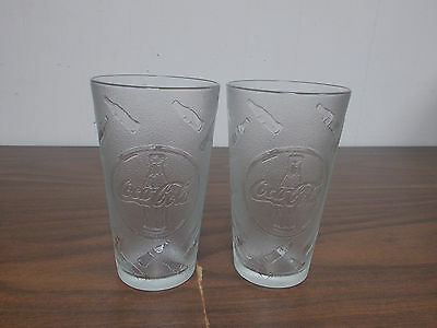 Set Of 2 Frosted 20-Oz  Coca-Cola Tumblers With Embossed Coke Bottles