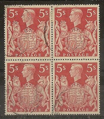GB 1939 5/- Red Block SG477 Good to Fine Used