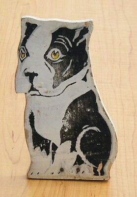 Vintage Hand Made Folk Art Wedge Door StopperBlack & White Dog 8""