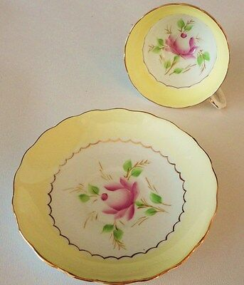 English vintage china teacup and saucer high tea party yellow pink roses