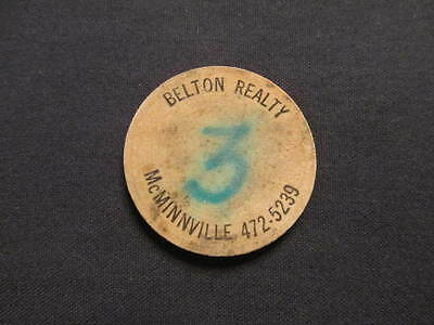 McMinnville, Oregon Wooden Nickel token - Belton Realty Wooden Nickel OR Coin #3
