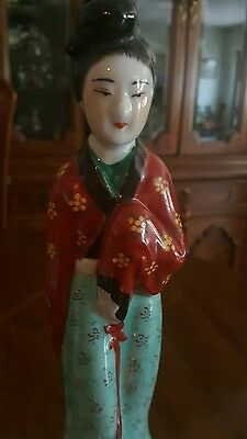 "Vintage Chinese Porcelain Famille Rose Lady Statue-Impressed Mark-11-1/2"" High"
