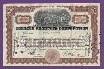 Tobacco Products Corporation - Stock Certificate - signed 1928