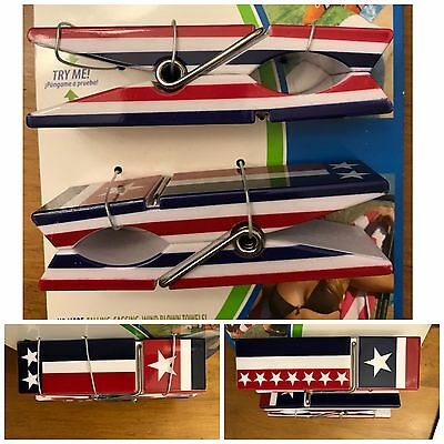 Boca Clips New 2-pack Towel Chair Clips Red White & Blue USA Stars Stripes Flag