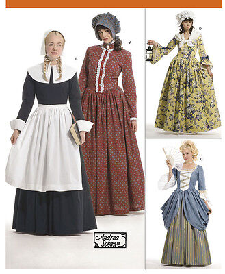 PATTERN for Colonial Pilgrim costume dress Simplicity 3723 Patriot Hat Miss 6-12
