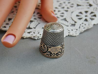 "Antique Thimble Sterling Silver Hallmark 2 Tone Gold Skirt Engraved ""FEH"" 6 gram"