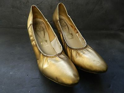 Freed England Ballroom Dance Shoes 7 1/2 Gold Heels