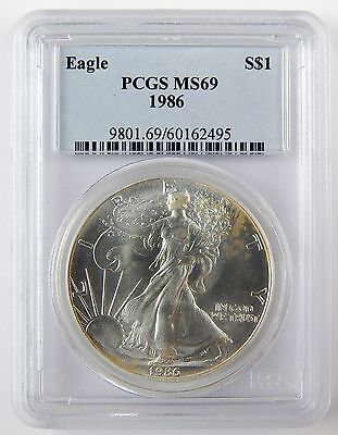 1986 $1 American Silver Eagle ASE Dollar PCGS MS69 Uncirculated Coin A2335