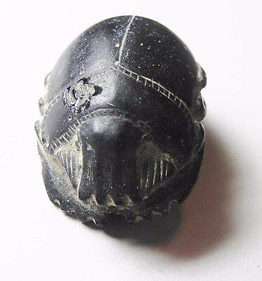 Zurqieh - Af2259- Ancient Egypt , Stunning Glass Button Scarab. 600 - 300 B.c