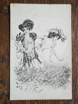 EDWARDIAN LADIES IN COUNTRYSIDE SIGNED E.D. - B. K. W. I. No 687/1 (1900s)