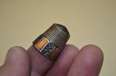 Antique STERLING SILVER Fancy Sewing Thimble * GOLDEN COLORED